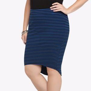 TORRID Plus Black Blue Striped High Low Skirt 4X